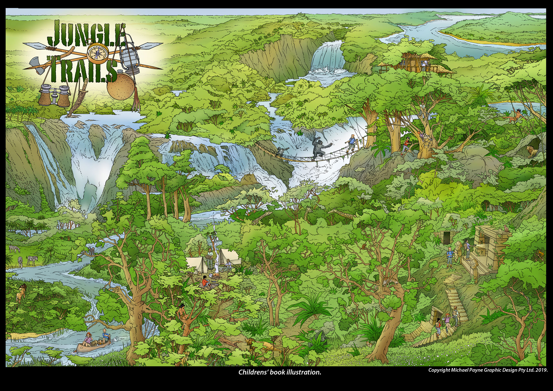 Jungle Trails Childrens Book © Michael Payne Graphic Design